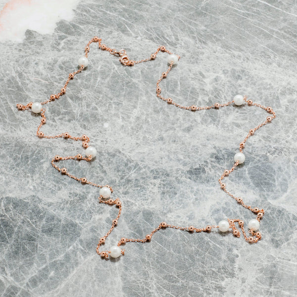 LONG PEARL AND ROSE GOLD CHAIN NECKLACE