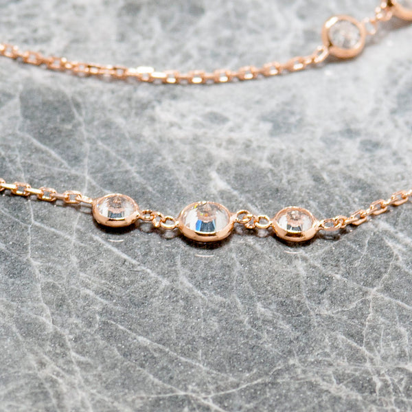 LONG ROSE GOLD TENNIS NECKLACE