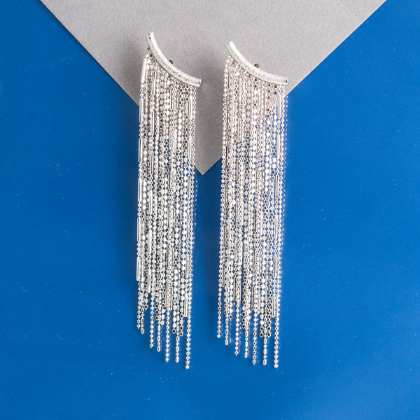 SILVER TASSEL CHANDELIER EARRINGS