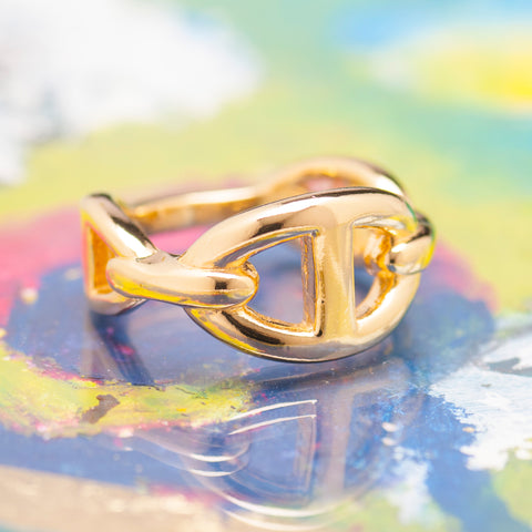 SINGLE GOLD ANCHOR CHAIN RING