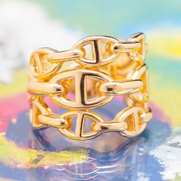 TRIPLE GOLD ANCHOR CHAIN RING