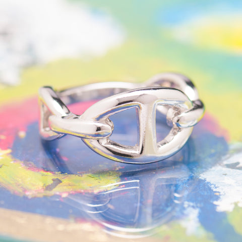 SINGLE SILVER ANCHOR CHAIN RING