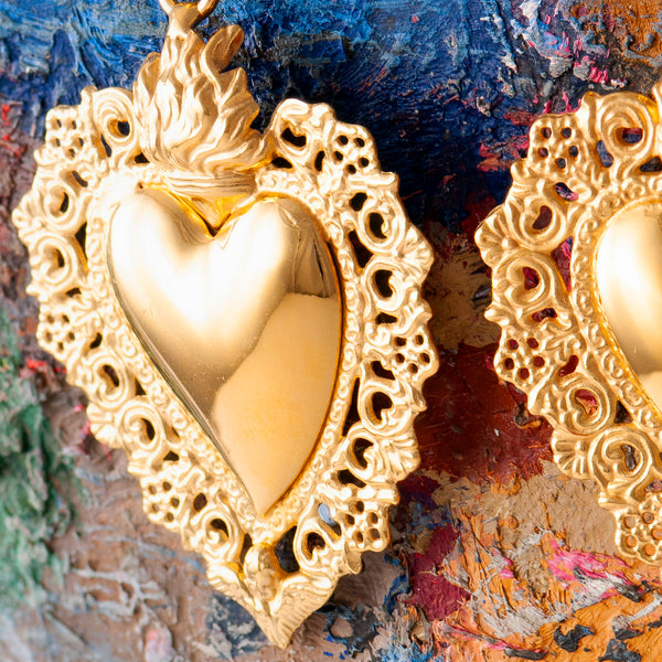 LARGE GOLD SACRED HEART DROP EARRINGS