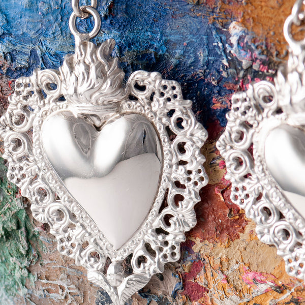 LARGE SILVER SACRED HEART DROP EARRINGS