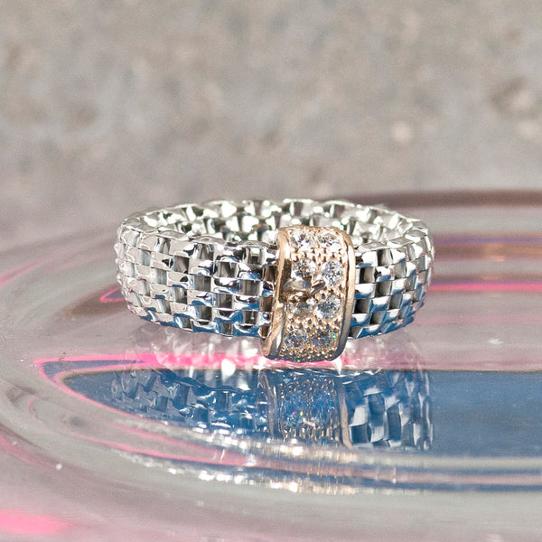 SILVER FLEXI RING WITH ZIRCONS
