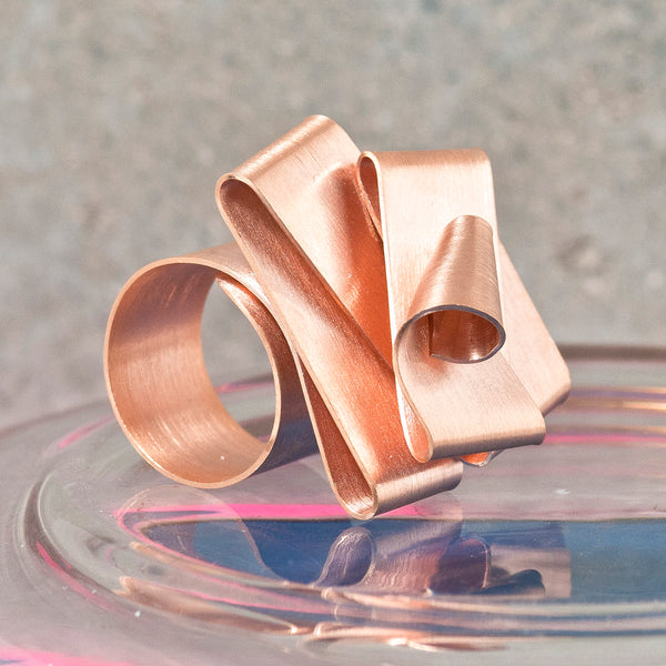 FOLDED ROSE GOLD RING