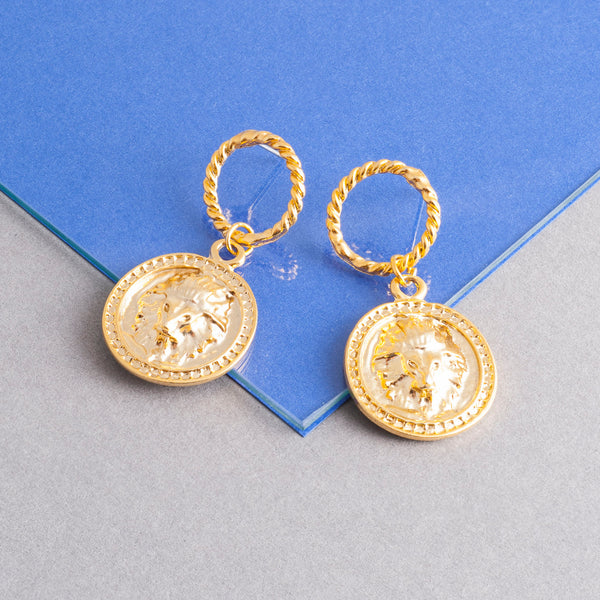 GOLD LION DISC TWIST EARRINGS