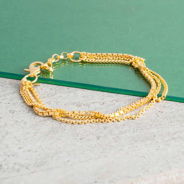 GOLD TRIPLE CHAIN BRACELET