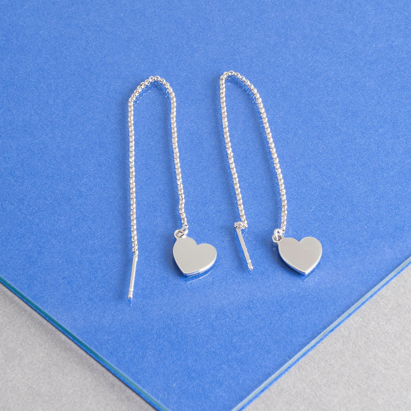 HEART CHARM THREADER EARRINGS