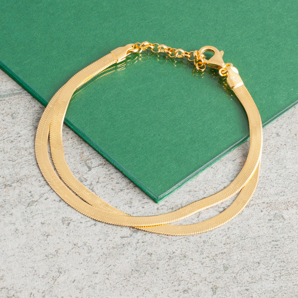 GOLD DOUBLE SNAKE CHAIN BRACELET