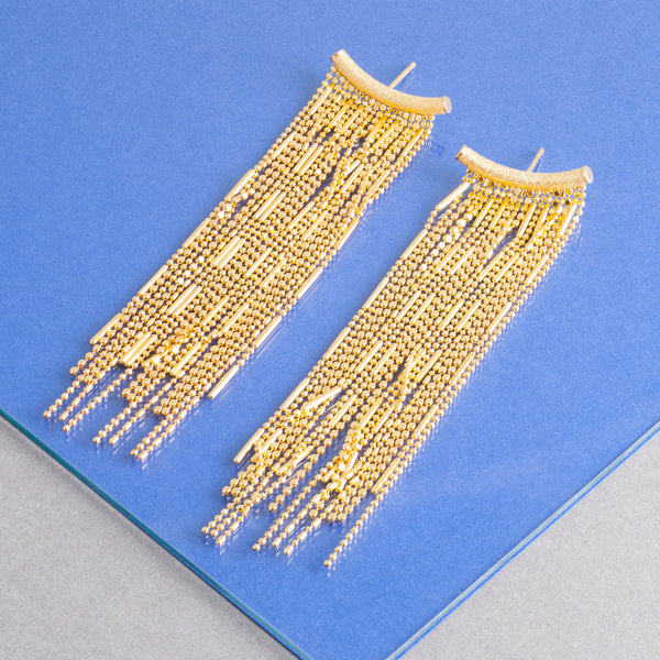 GOLD TASSEL CHANDELIER EARRINGS