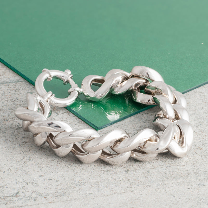 SILVER THICK CURB CHAIN BRACELET
