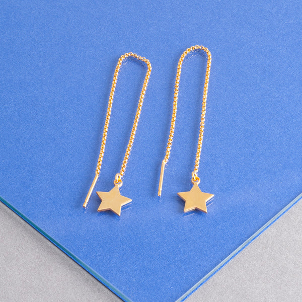 STAR CHARM THREADER EARRINGS