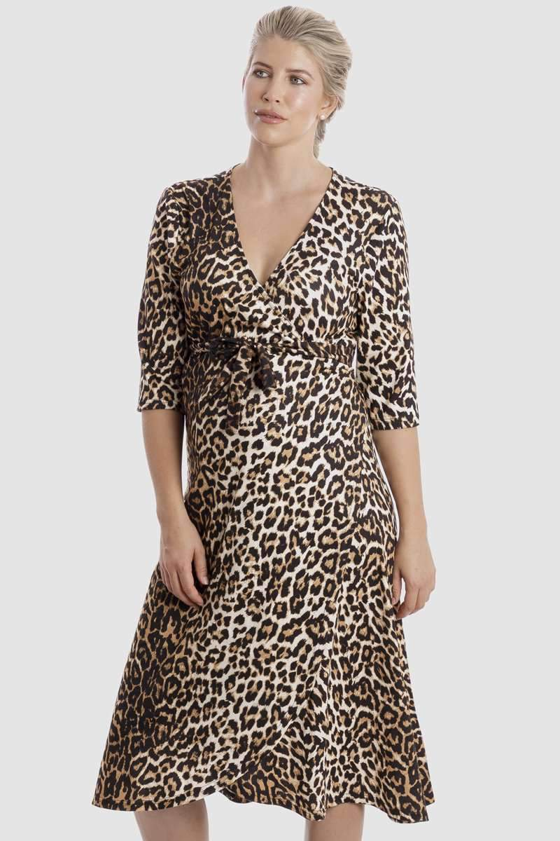 Harper Maternity & Nursing Wrap Dress in Animaux - Maive & Bo