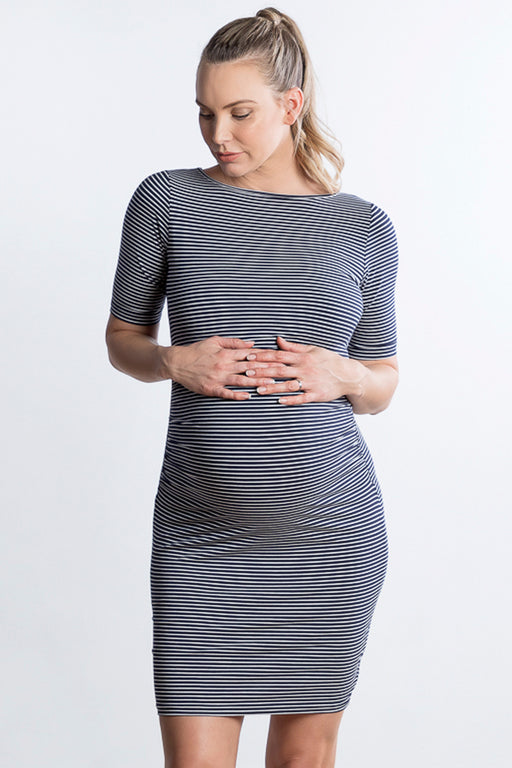 Luella Cotton Maternity Dress in Navy Stripe