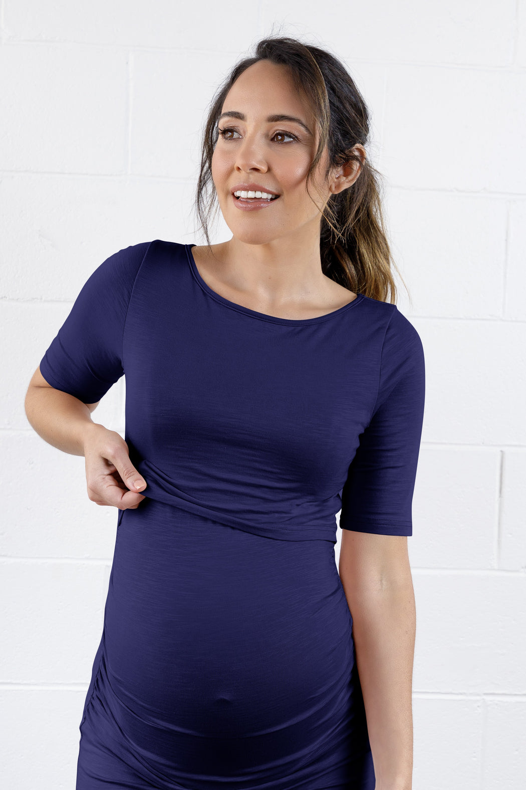 Luella Bamboo Maternity Dress in Navy