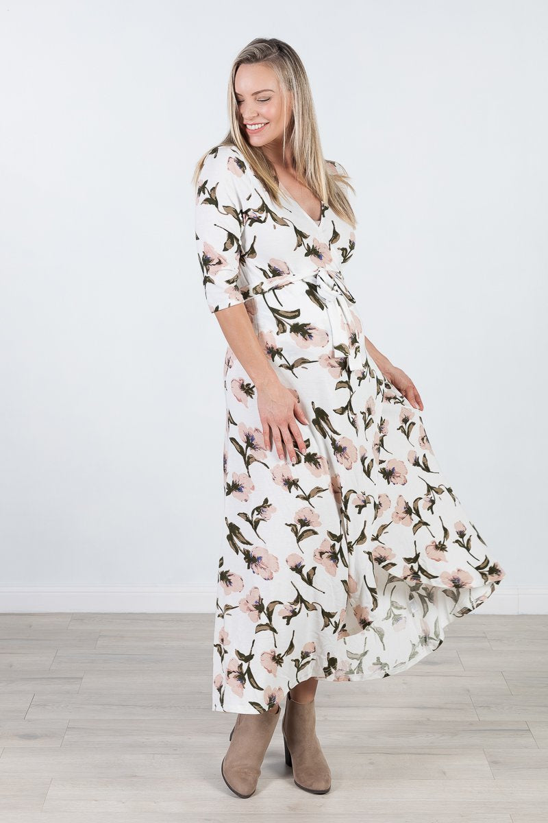 Harper Maternity & Nursing Wrap Dress in White Floral
