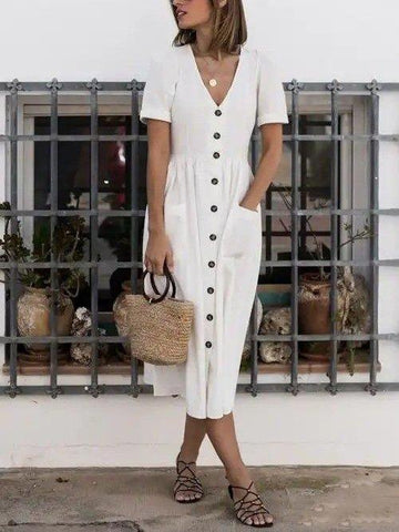V Neck Short Sleeve Shift Linen Dress