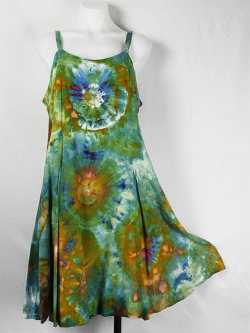 Round Collar Tie Dye Print Classic Dress