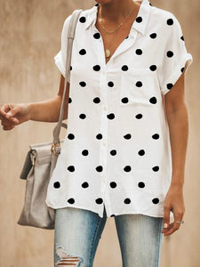 Relaxed Fit Polka Dots Button Down Blouse