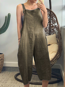Plus Size Linen Solid Pockets Jumpsuits