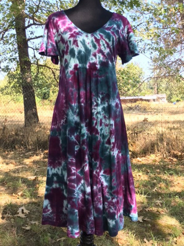 V-Neck Tie Dye Short Sleeve Midi Dress