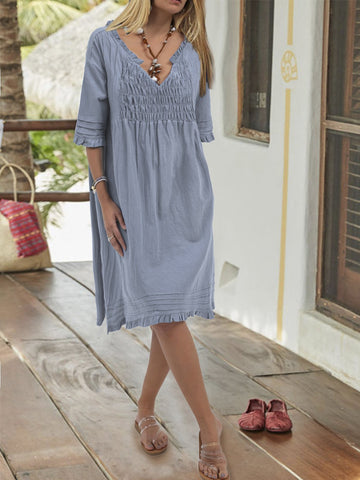 Summer Half Sleeve Daily V Neck Dress