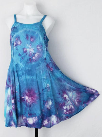 Sleeveless Summer Daily Round Collar Tie Dye Print Dress