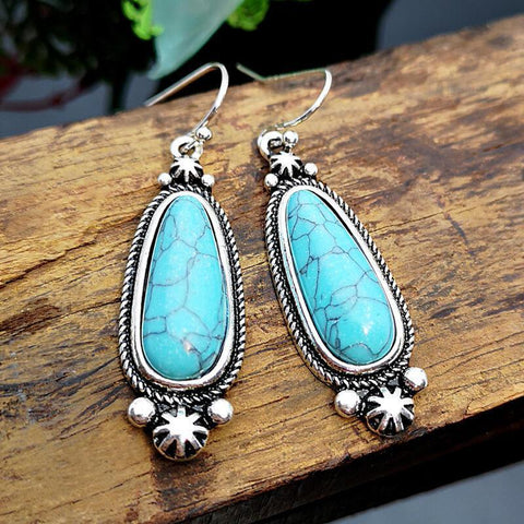 Drop-Shaped Turquoise Vintage Earrings