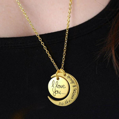I Love You Moon Pendant Alloy Necklace