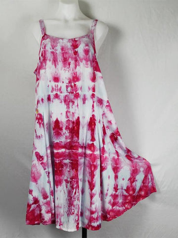 Daytime Round Collar Tie Dye Print Classic Dress