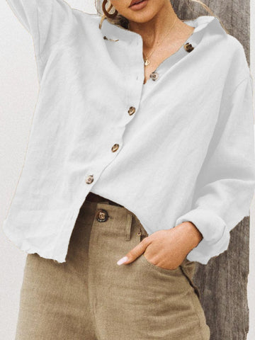 Summer Shawl Neck Linen Solid Casual Blouse