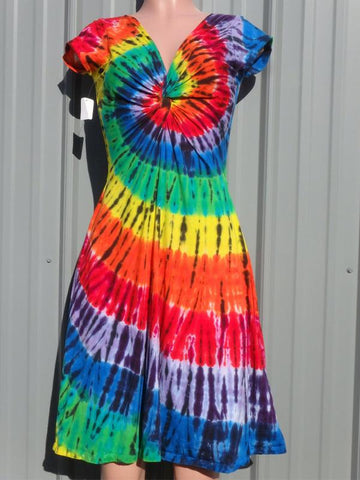 V Neck Tie Dye Daily Mini Dress