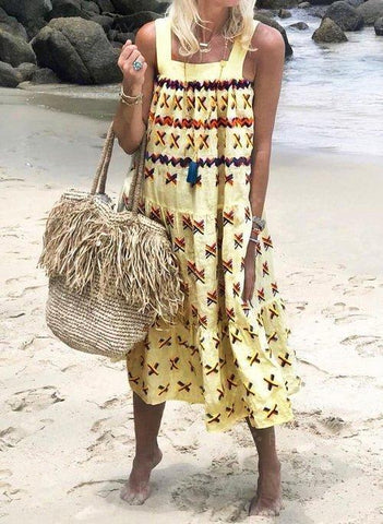 Sleeveless Boho Printed Beach Dress