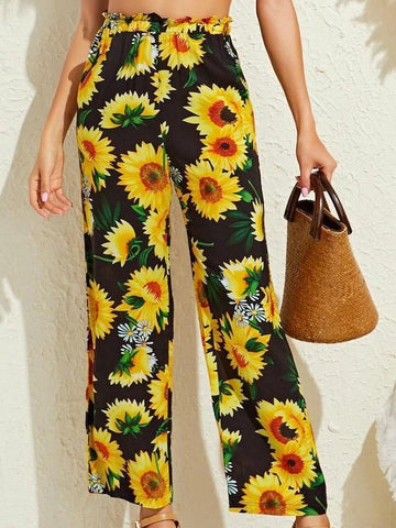 Summer Sunflower Print Pants