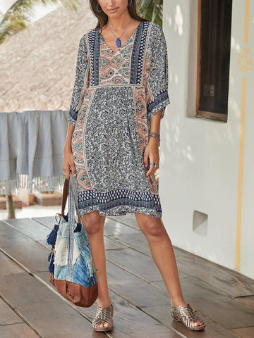 Boho Half Sleeve V Neck Floral Dress