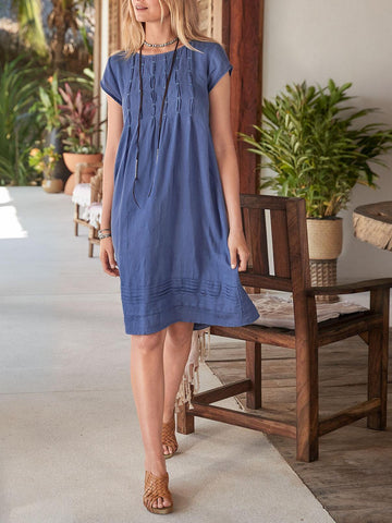 Short Sleeve Summer Solid Round Neck Casual Dress