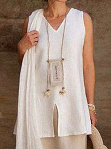 Summer Slit Front Sleeveless Casual Tank Top