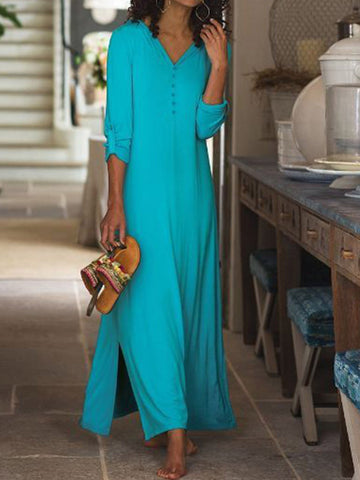 V Neck Convertible Sleeves Slit Side Maxi Dress