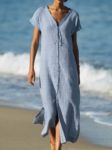 Short Sleeve V Neck Beach Linen Paneled Dress