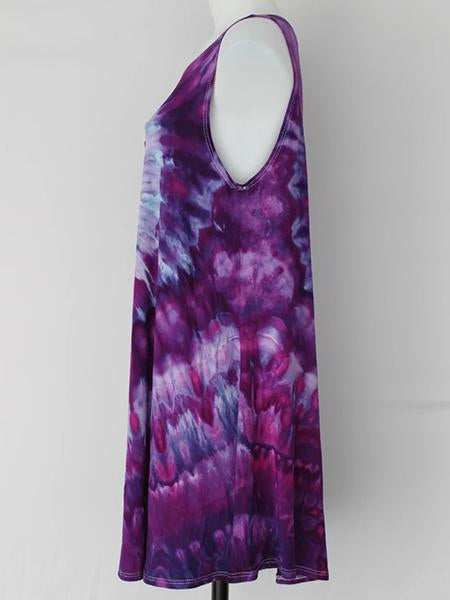 Cotton Round Collar Tie dye Print Basic Dress