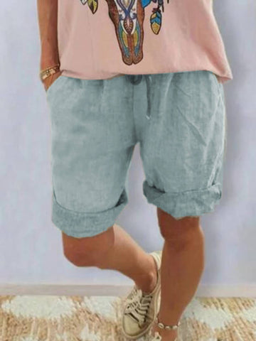 Summer Casual Cotton-Blend Pockets Shorts