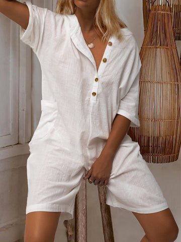 V Neck Solid Casual One-Pieces