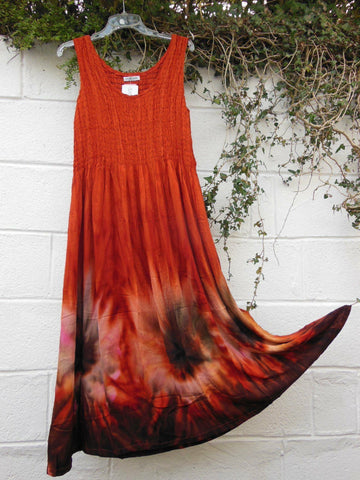 Sleeveless Tie Dye Shirred Abstract Dress