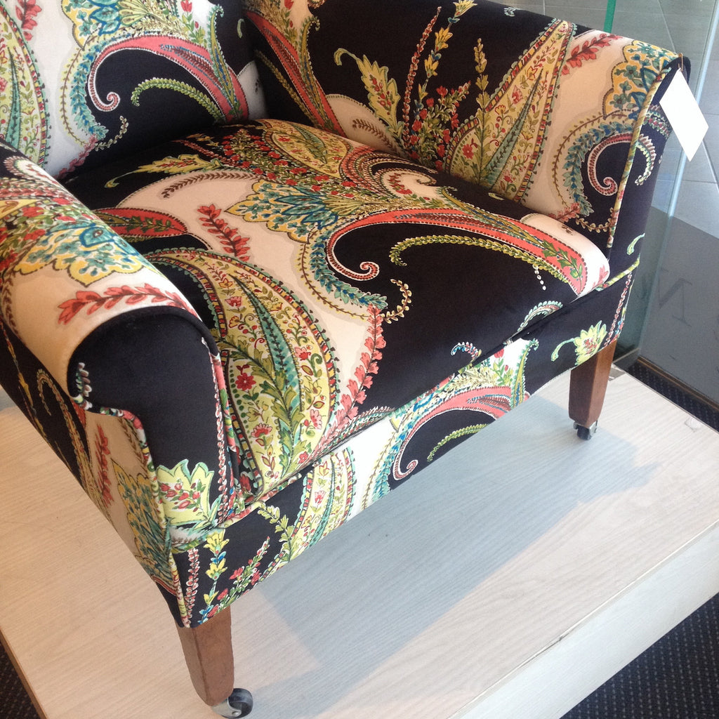 Stunning & Uniquely Upholstered -  Antique Armchair