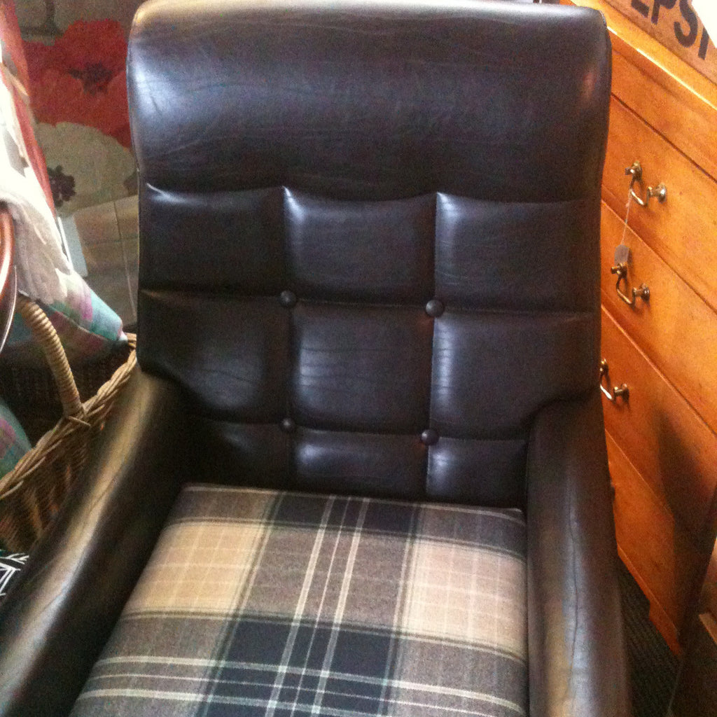 Reupholstered leather and wool armchair