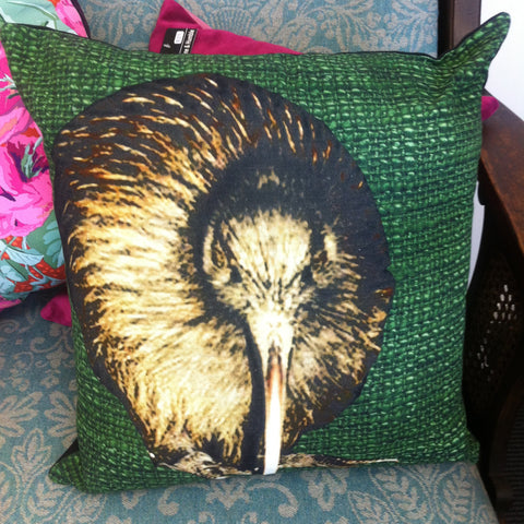 Cotton Kiwi Cushion - Caroline Mitchell