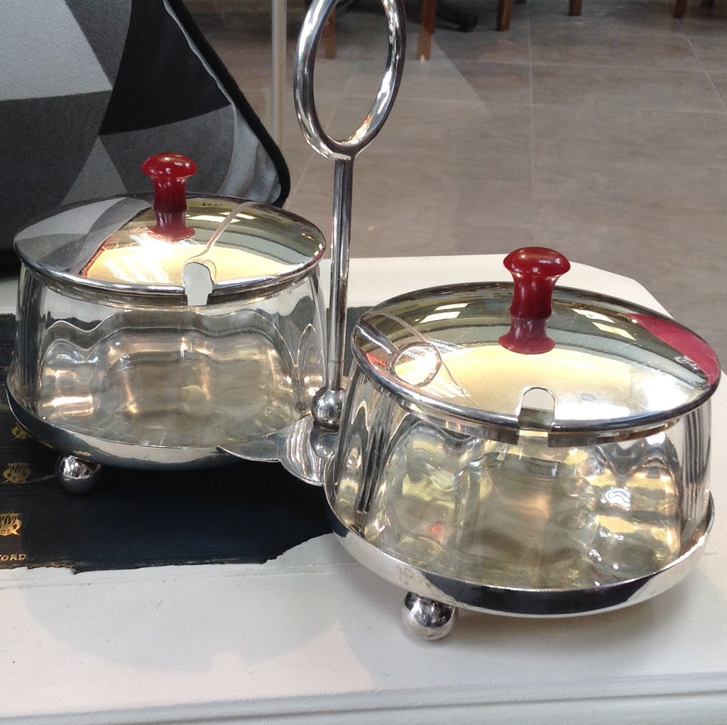 Silver Plated Double Jam Dish