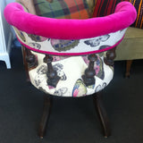 Edwardian Spindle Tub Chair: Pink Velvet & Butterfly Linen