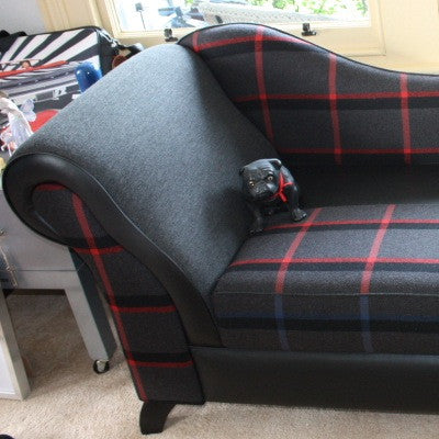 Italian Wool & Black Vinyl Chaise
